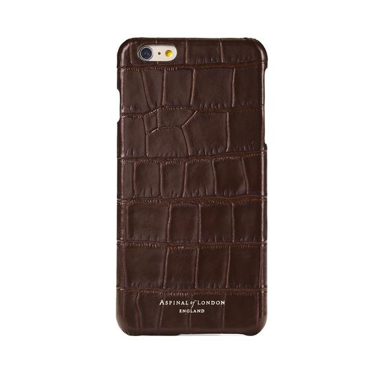 iPhone 7/8 Leather Cover in Deep Shine Amazon Brown Croc & Black Suede from Aspinal of London