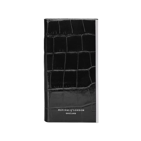 iPhone 7/8 Leather Book Case in Deep Shine Black Croc & Black Suede from Aspinal of London