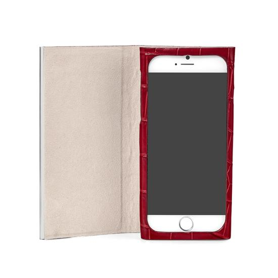 iPhone 7 Plus Leather Book Case in Deep Shine Red Croc with Cream Suede from Aspinal of London