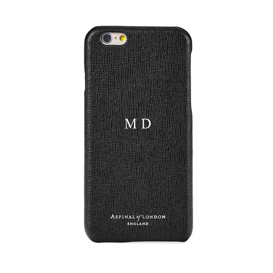 iPhone 6 Plus Leather Cover in Black Saffiano & Black Suede from Aspinal of London