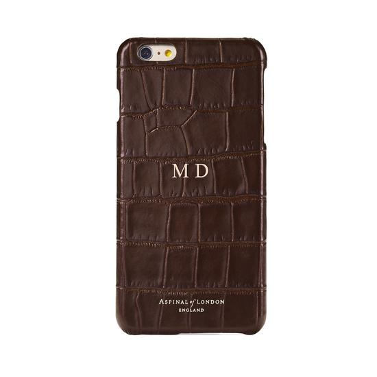 iPhone 6 Plus Leather Cover in Deep Shine Amazon Brown Croc & Black Suede from Aspinal of London