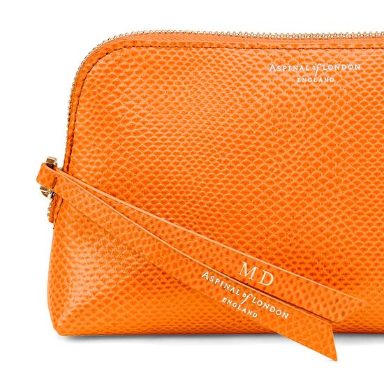 Small Essential Cosmetic Case in Orange Lizard from Aspinal of London