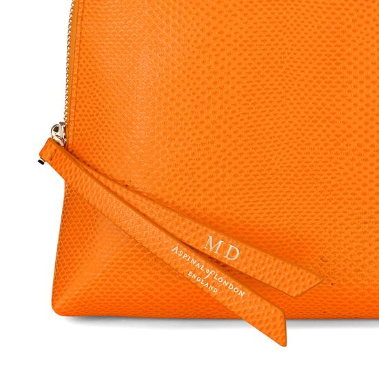 Large Essential Cosmetic Case in Orange Lizard from Aspinal of London
