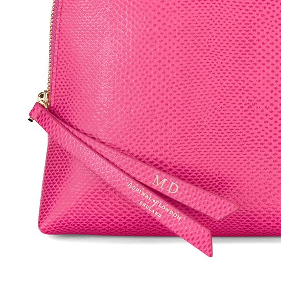 Large Essential Cosmetic Case in Raspberry Lizard from Aspinal of London