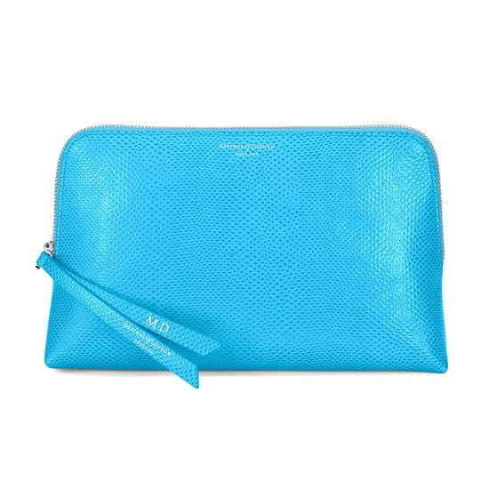 Large Essential Cosmetic Case in Aquamarine Lizard from Aspinal of London