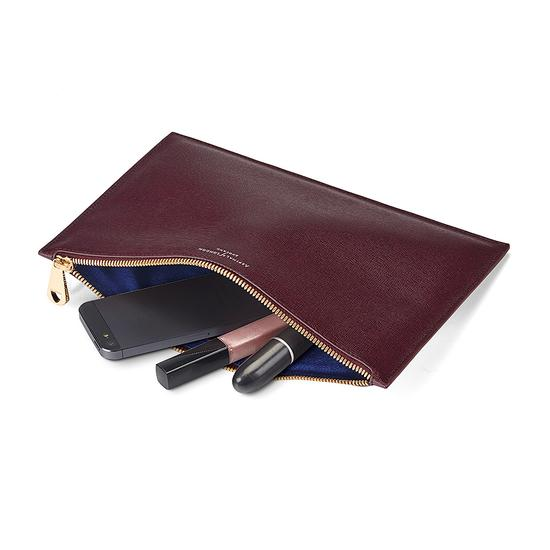 Large Essential Flat Pouch in Burgundy Saffiano from Aspinal of London