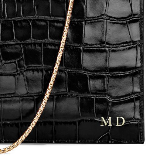 Soho Double Sided Clutch in Deep Shine Black Croc from Aspinal of London