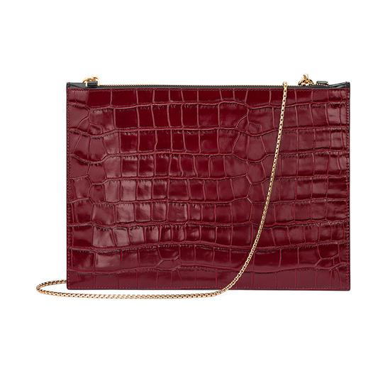 Soho Clutch in Deep Shine Bordeaux & Black Croc from Aspinal of London