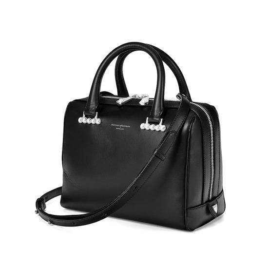 Mini Pearl Bowling Bag in Smooth Black from Aspinal of London