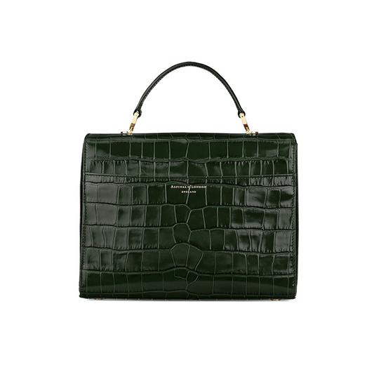 Mayfair Bag in Deep Shine Forest Green Croc from Aspinal of London