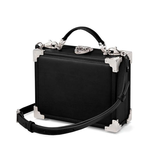 Mini Trunk Clutch in Smooth Black with Silver Hardware from Aspinal of London