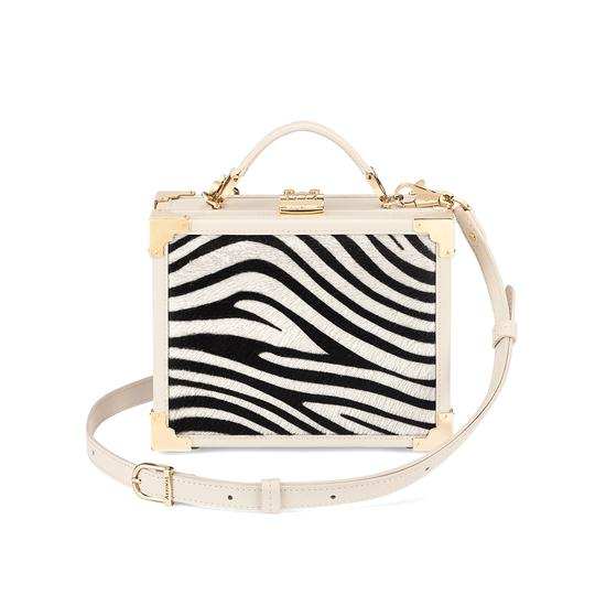 Mini Trunk Clutch in Smooth Ivory & Zebra Haircalf from Aspinal of London