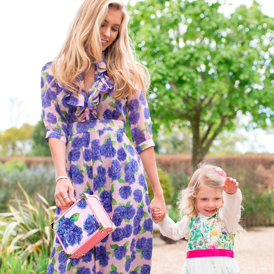 Beautiful Soul Mini Trunk Clutch in Smooth Blossom & Hydrangea Print from Aspinal of London