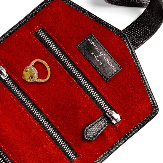 Travel Jewellery Roll in Jet Black Lizard & Red Suede from Aspinal of London