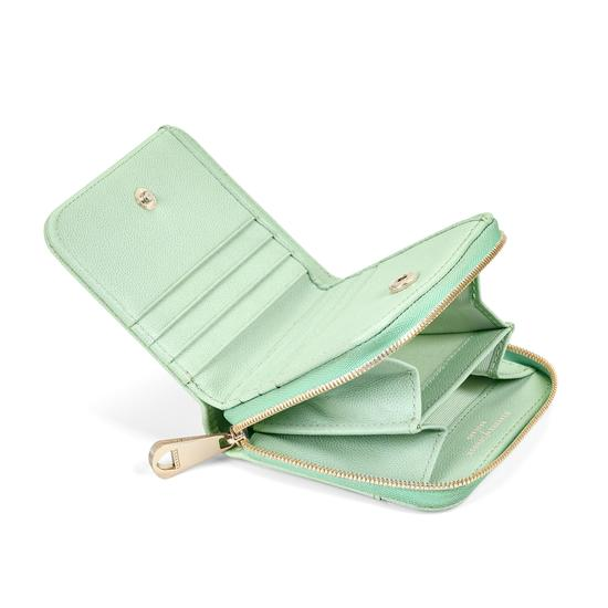 Mini Continental Zipped Coin Purse in Peppermint Kaviar from Aspinal of London