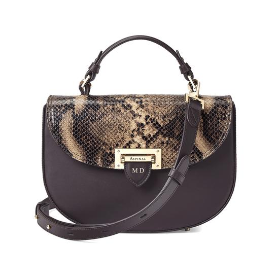 Letterbox Saddle Bag in Smooth Dark Brown & Tan Snake Print from Aspinal of London
