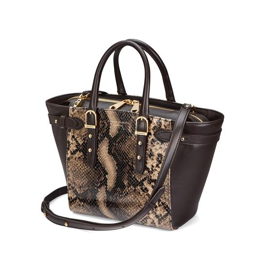 Mini Marylebone Tote in Smooth Dark Brown & Tan Snake Print from Aspinal of London