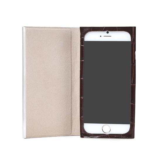 iPhone 7 Plus Leather Book Case in Deep Shine Amazon Brown Croc & Stone Suede from Aspinal of London