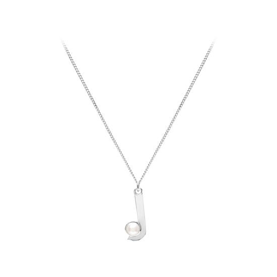 Sterling Silver & Akoya Pearl Alphabet Pendant Necklace (Letter J) from Aspinal of London