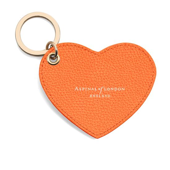 Heart Key Ring in Orange Pebble from Aspinal of London