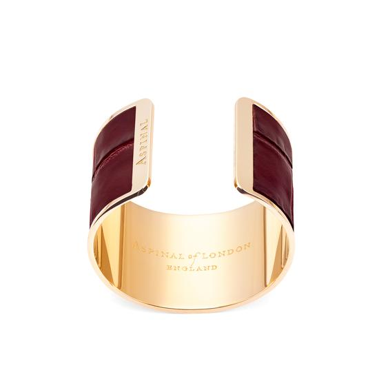 Cleopatra Cuff Bracelet in Deep Shine Bordeaux Croc from Aspinal of London