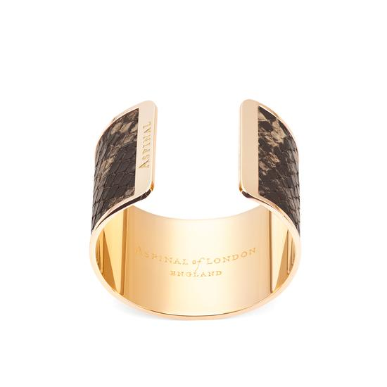 Minerva Cuff Bracelet in Tan Snake from Aspinal of London