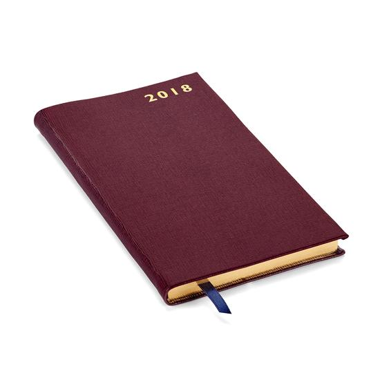 Slim Pocket Leather Diary in Burgundy Saffiano from Aspinal of London