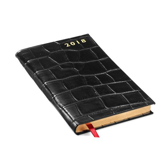 Slim Pocket Leather Diary in Deep Shine Black Croc from Aspinal of London