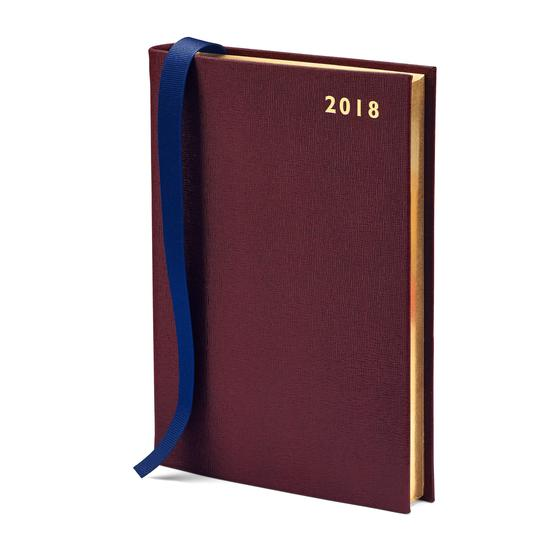 A5 Day per Page Leather Diary in Burgundy Saffiano from Aspinal of London