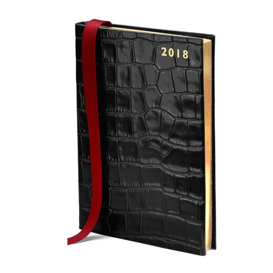 A5 Day per Page Leather Diary in Deep Shine Black Croc from Aspinal of London