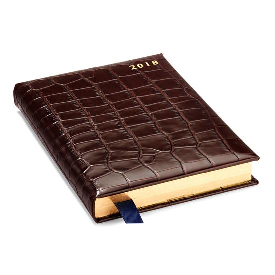 A5 Day per Page Leather Diary in Deep Shine Amazon Brown Croc from Aspinal of London