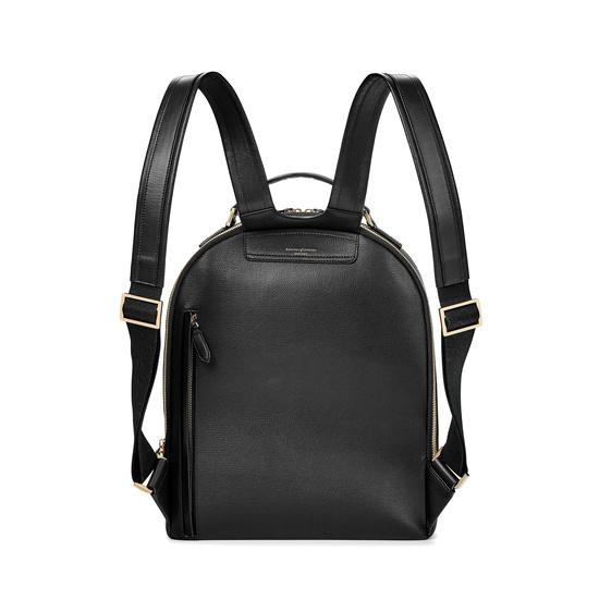Large Mount Street Backpack in Black Pebble from Aspinal of London