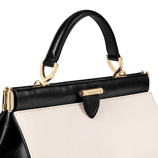 Large Florence Frame Bag in Monochrome Saffiano from Aspinal of London