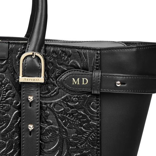 Midi Marylebone Tech Tote in Black Embossed Flower from Aspinal of London