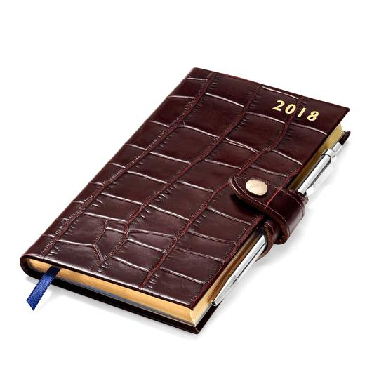 Slim Pocket Leather Diary with Pen in Deep Shine Amazon Brown Croc from Aspinal of London