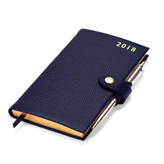 Slim Pocket Leather Diary with Pen in Midnight Blue Lizard from Aspinal of London