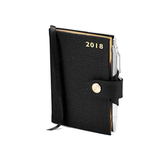 Mini Pocket Leather Diary with Pen in Black Saffiano from Aspinal of London