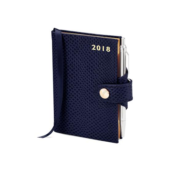 Mini Pocket Leather Diary with Pen in Midnight Blue Lizard from Aspinal of London
