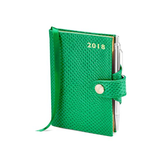 Mini Pocket Leather Diary with Pen in Grass Green Lizard from Aspinal of London