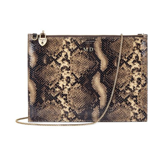 Soho Double Sided Clutch in Smooth Dark Brown & Tan Snake Print from Aspinal of London
