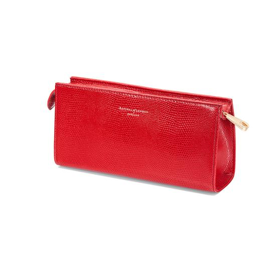Small Cosmetic Case in Berry Lizard from Aspinal of London