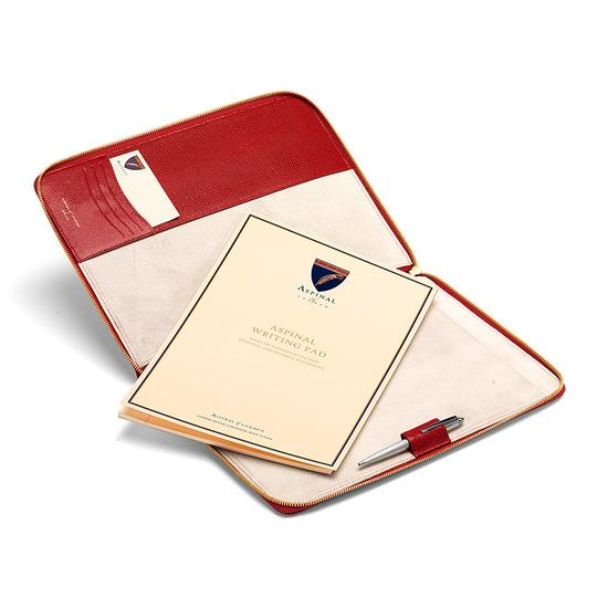 Executive A4 Zipped Padfolio in Berry Lizard & Cream Suede from Aspinal of London