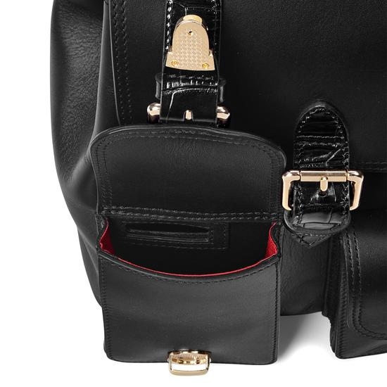 Small Oxford Backpack in Smooth Black & Deep Shine Black Croc from Aspinal of London