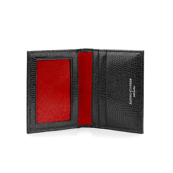 ID & Travel Card Case in Jet Black Lizard & Red Suede from Aspinal of London
