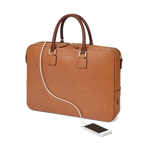 Small Mount Street Bag in Smooth Natural Tan with Smooth Redwood Handles from Aspinal of London