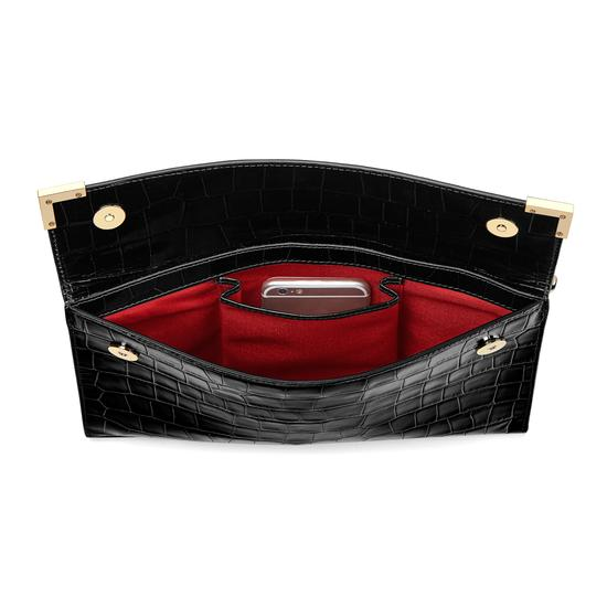 Editor's Clutch in Deep Shine Black Croc from Aspinal of London