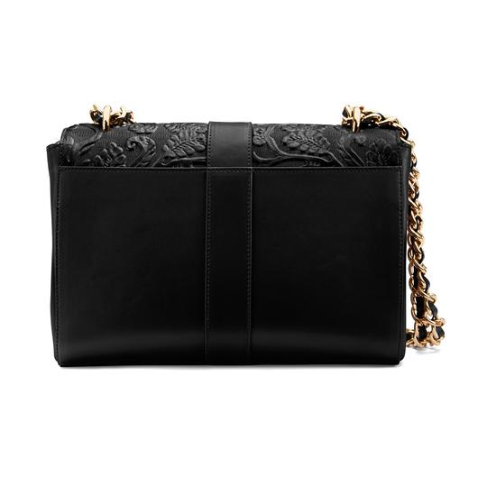 Large Lottie Bag in Black Embossed Flower from Aspinal of London