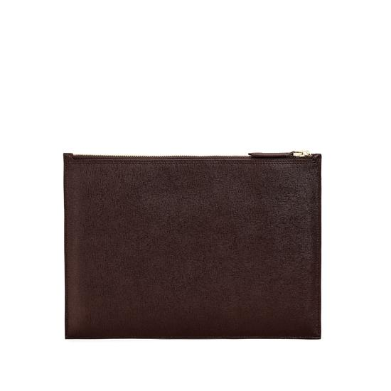 Mount Street Flat Pouch in Brown Saffiano from Aspinal of London