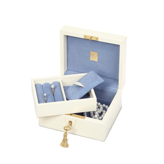 Bijou Jewellery Box in Deep Shine Ivory Small Croc from Aspinal of London