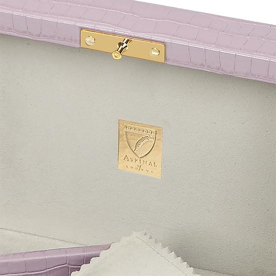 Bijou Jewellery Box in Deep Shine Lilac Small Croc from Aspinal of London